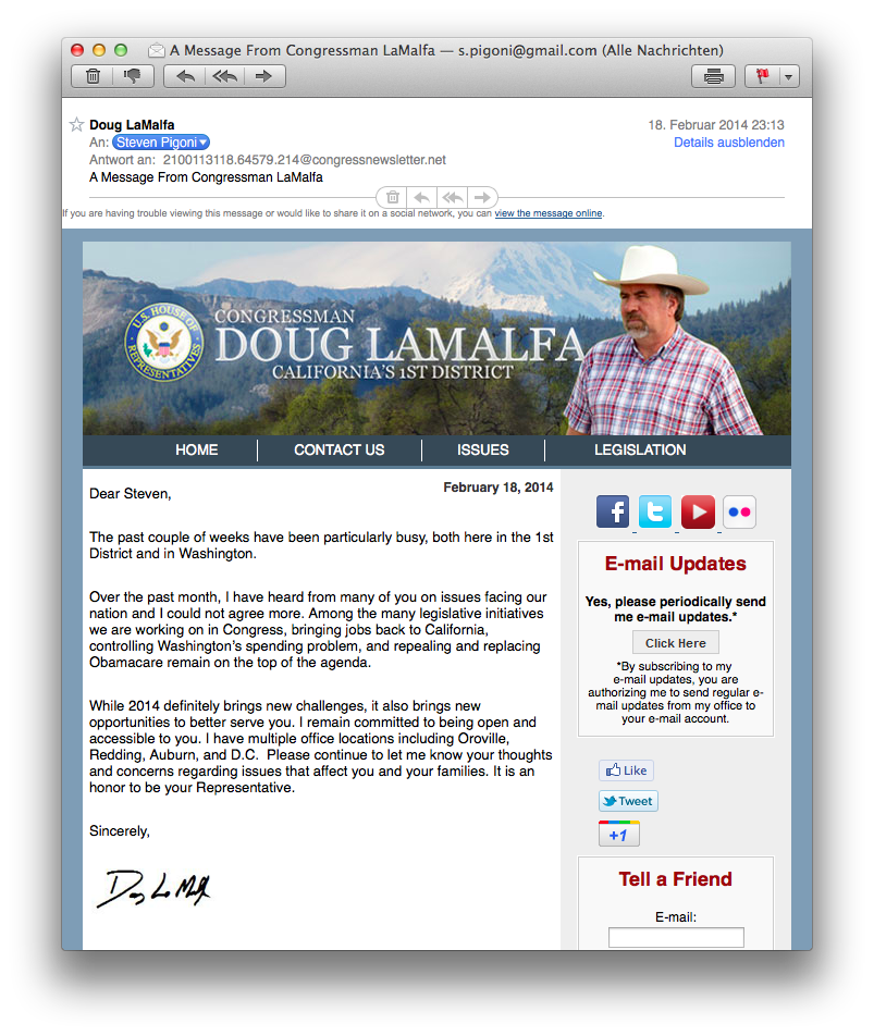 fehlgeleitete E-Mail Google